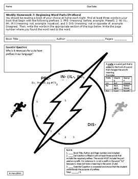 Superhero Reading HW & Activity Sheet #7: Beginning Word Parts