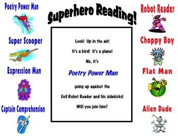 Fluency Fun! Superhero Reading Intervention Poster