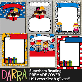 Superhero Reading Premade Background Paper for Cover Page