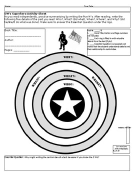 Superhero Reading Strategy and Skill Sheets