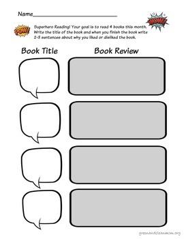 Superhero Reading and Book Review Homework