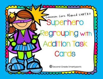 Superhero Regrouping with Addition Task Cards
