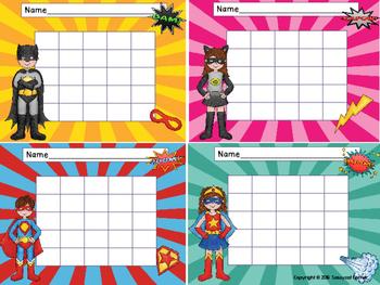 Superhero Reward Sticker Chartlets for Big Kids (grades 3 - 6)