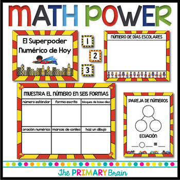 Superhero SPANISH Calendar Set Including Weather, Seasons, Math Power and more!