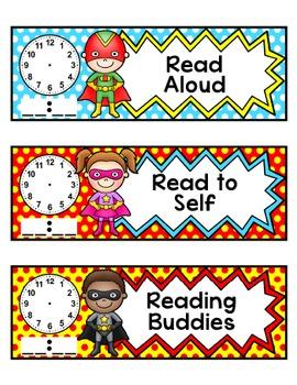 Schedule Cards - Superhero Classroom Materials