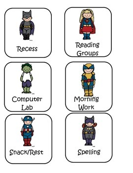 Superhero Schedule Cards and Classroom Jobs