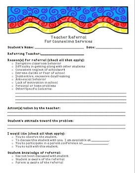 Superhero School Counselor Referral and Passes Pack