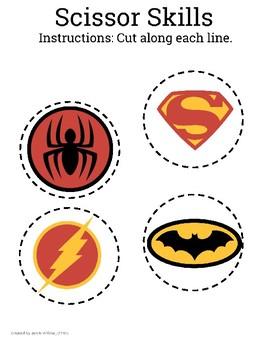Superhero Scissor Skills Workbook- Cutting skills
