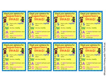Superhero Sentence SWAG Desk Checklist