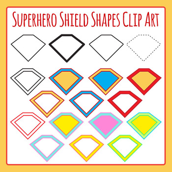 Superhero Shield Shapes Clip Art Set for Commercial Use