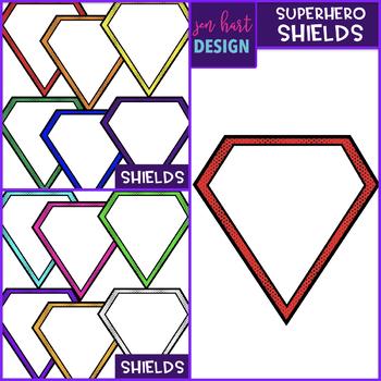 Superhero Clipart {Shields-Frames}