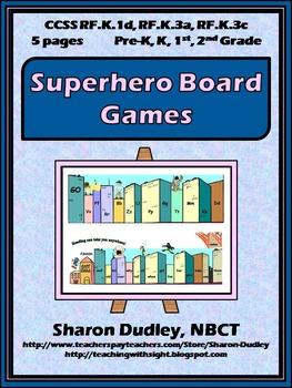 Superhero Alphabet and Sight Word Board Games