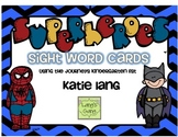 Superhero Sight Word Cards-Kindergarten Word List