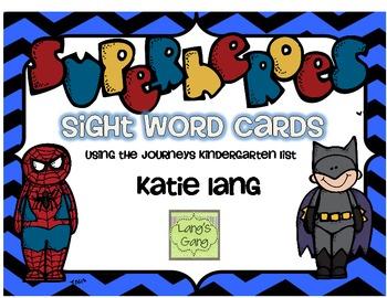 Superhero Sight Word Cards-Kindergarten Word List