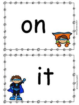 Superhero Sight Word Cards