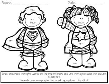 Superhero Sight Word Coloring Page By Julianne Elson Tpt