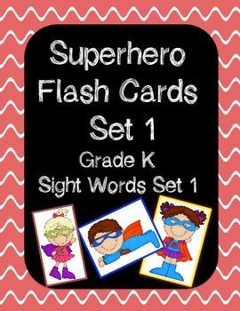 Superhero Sight Word Flash Cards - Set 1 - Kindergarten