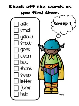 Superhero Sight Word Mission - Set A