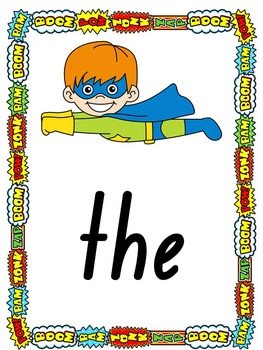 Superhero Sight Word Posters, Word Wall Cards and Flashcards Pre-Primer Dolch