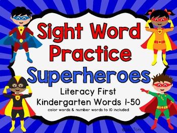Sight Word Slide Show, Literacy First Kindergarten Words 1-50, Superheroes