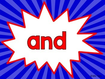 Sight Word Slide Show, Literacy First List A, Words 1-50, Superheroes