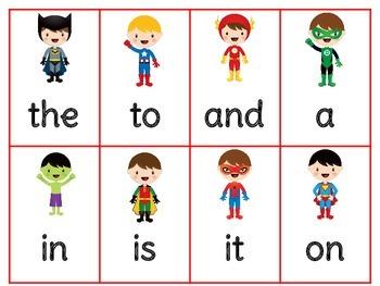 Superhero Sight Word Roll, Say, Keep