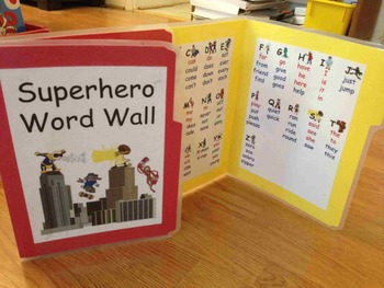 Superhero Sight Word Wall Folder