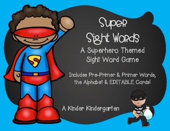Superhero Sight Words (EDITABLE)