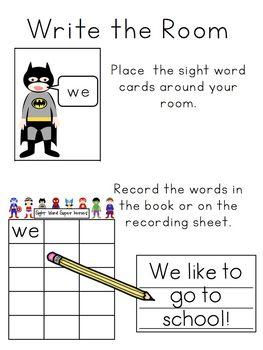 Superhero Sight Words