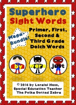 Superhero Sight Words Bundle:  Primer-Third Grade