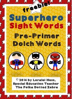 Superhero Sight Words: Dolch Pre-Primer