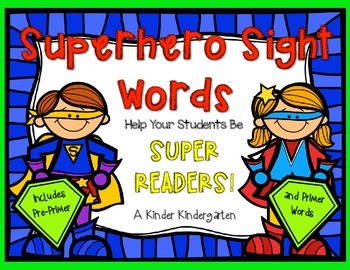 Superhero Sight Words EDITABLE