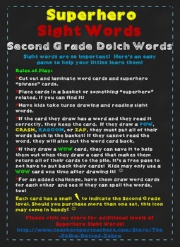 Superhero Sight Words:  Second Grade Dolch Words