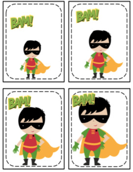 Superhero Size Sequencing Cards Set 1