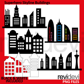 Superhero Skyline Buildings clip art