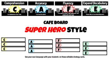 Superhero Skyline Cafe Headers and Editable Strategy Cards