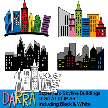 Superhero Skyline City Buildings Clip Art