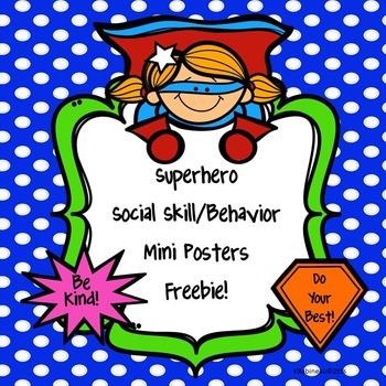 Superhero Social Skill and Behavior Mini Posters Freebie