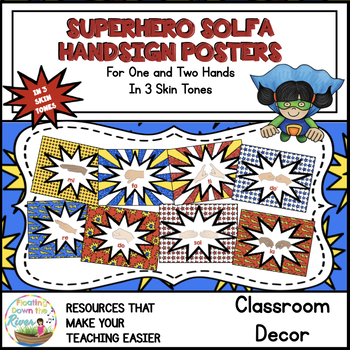 Superhero Solfa Handsign Posters for One and Two hands/3 Skin Tones