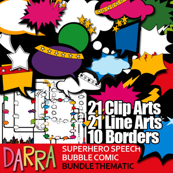 Superhero Speech Bubble Comic Clipart and borders Bundle