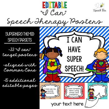 "Superhero ""I Can"" Statements for Speech Therapy--Editable!"