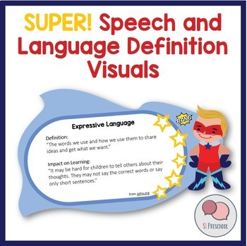 Superhero Speech Language Definition Visuals For Bulletin Boards
