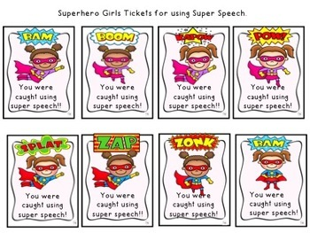 Superhero Speech Tickets:  Color and B&W
