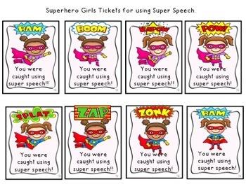 Superhero Speech Tickets:  Color and B&W