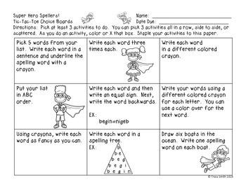Superhero Spellers!  Student Choice Boards - Spelling Homework!