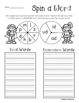 Superhero Spin a Word: Real Words vs. Nonsense Words (Word Families)