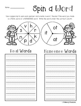 Superhero Spin a Word: Real Words vs. Nonsense Words (Word