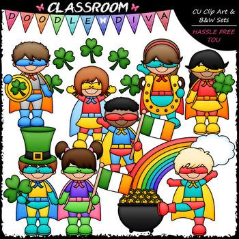 Superhero St. Patrick's Day Kids - Clip Art & B&W Set
