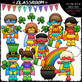 Superhero St. Patrick's Day Kids - Clip Art & B&W Set
