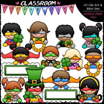Superhero St. Patrick's Day Topper Kids - Clip Art & B&W Set